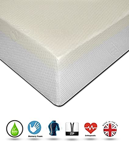 ReFoam Diamond Sleep 1000 Orthopaedic Memory Foam Mattress With Washable Zip-off Cover to BS 7177 British Safety Standards 3FT Single (90 cm x 190 cm)