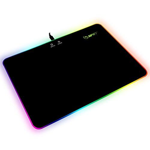 NPET Gaming Mouse Mat (mit RGB Chroma Beleuchtung, Mauspad mit Kunststoff Oberfläche für professionelle Gamer) 35 * 25 cm – schwarz