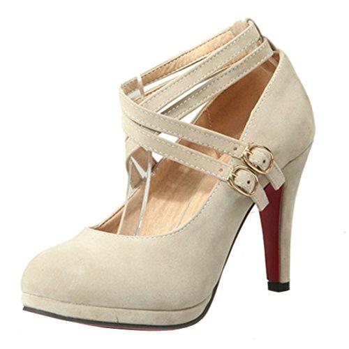 YE Damen Riemchen High Heels Plateau Stiletto Pumps mit Roter Sohle Elegant Work Office Schuhe Beige