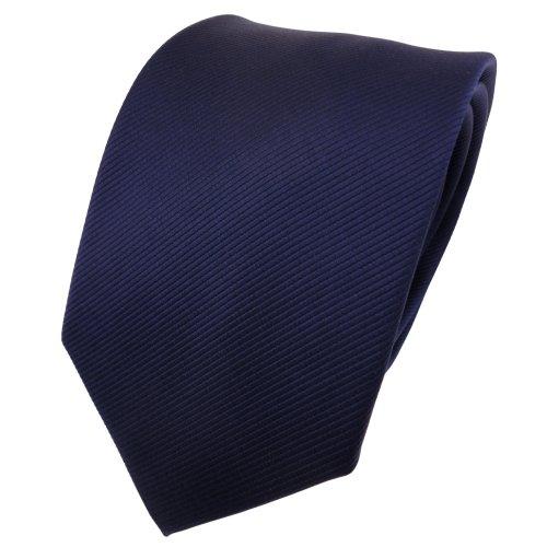 TigerTie TigerTie Designer Krawatte blau dunkelblau marine Uni Rips - Binder Tie