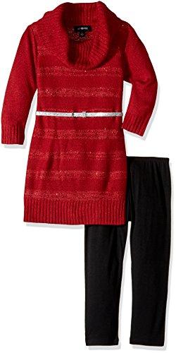 Ein Byer Kleider (Amy Byer Big Girls' 3/4 Sleeve Sequin Stripe Cowl Set, Red, XL)