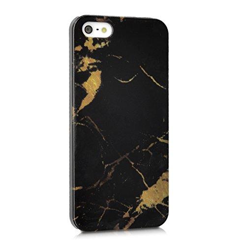 kwmobile Étui rigide Design marbre pour Apple iPhone SE / 5 / 5S en noir blanc marbre noir doré