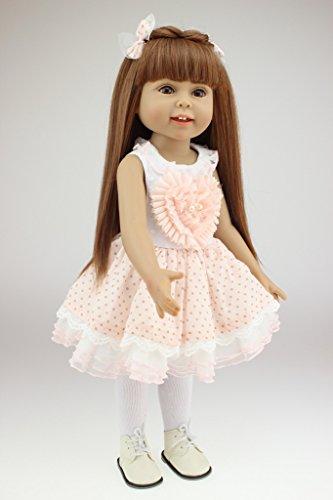 Nicery Reizender Madchen Spielzeug Puppe Hohe Weich Vinyl 18inch 45cm Naturgetreue Beweglich Lacheln Prinzessin Rosa Herz Reborn Doll A3DE