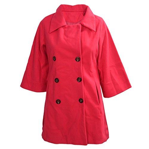 Mantel - SODIAL(R)Damen Schlank Asymmetrisch Schoesschen Saum Revers Mantel rosa rot S