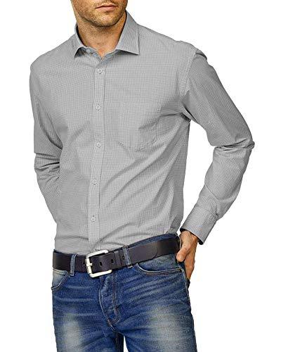 Hemden Herren Karriert Trachtenhemden Regular Fit Langarm Männer Freizeithemden Karohemden Plaid Shirt Oberteil Oktoberfest Grau s