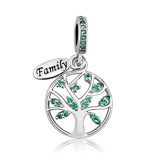 Uniqueen albero della vita pendenti perline charm per braccialetti e rame, cod. uq_dpc_fa500_parent