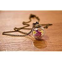 Collana in bicchiere - Fiori di Lavanda di mare - Piccolo globo 20mm - Idea regalo anniversario - Regalo di Natale