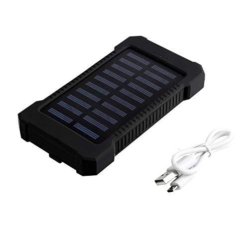 wasserdichte, langlebige 300000mAh tragbare, solarbetriebene Ladestation mit Zwei USB-Akkus für Notfälle im Freien - Schwarz