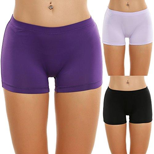 Ekouaer 3er Pack Damen Pantys Unterwäsche Hot Pants Dessous Hipster Boxershorts mit Karo Spitze Schleife, farbe: Schwarz / lila / hellpurpur, Gr. EU 44 (Herstellergröße: XXL) (Silhouetten-yoga-hosen)