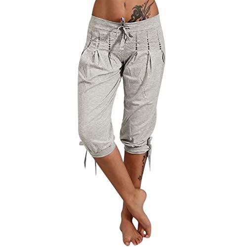 Yvelands Damen Hosen Sommer Lose Capri Baggy Harem Pants Pirat Shorts Lässig(Grau,XL) Baby-camo Socken