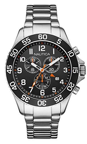 Nautica Herren Chronograph Quarz Uhr mit Edelstahl Armband NAI17509G (Uhren Silber Nautica)