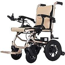 Silla de ruedas eléctrica plegable ligera, brazos de longitud de escritorio y reposapiés elevables,