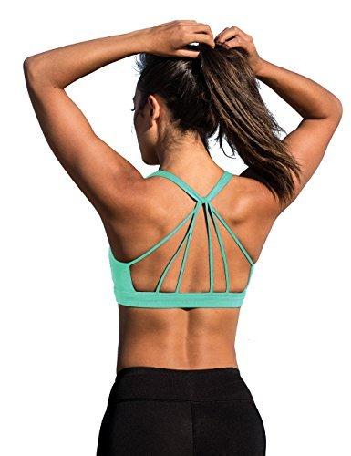icyzone Sport BH Damen Yoga BH mit Gepolstert - Starker Halt Fitness-Training Strech BH Bustier Push up Top ohne Bügel Sports Bra (M, Florida Keys)
