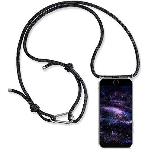 Alsoar Hülle ersatz für iPhone 6S Plus Handyhülle mit Kordel zum Umhängen Transparent Slim Stoßfest Silikon Schutzhülle für iPhone 6 Plus Dünn Vier Eckenschutz Case (Schwarz) - Ersatz-bildschirm-pink 6 Iphone
