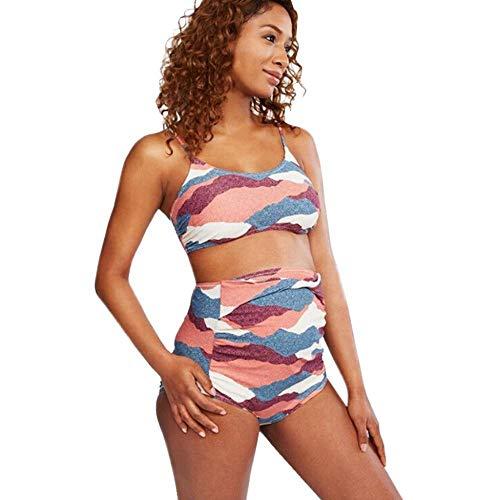Doublehero Umstandsmode Damen Umstands-Tankini Set Badeanzug Mode Kariert Beachwear Umstandstankini Zweiteilig Bikini Top und Hose Übergröße Push Up Swimsuit Schwanger Oberteile - Kariertes Bikini-top