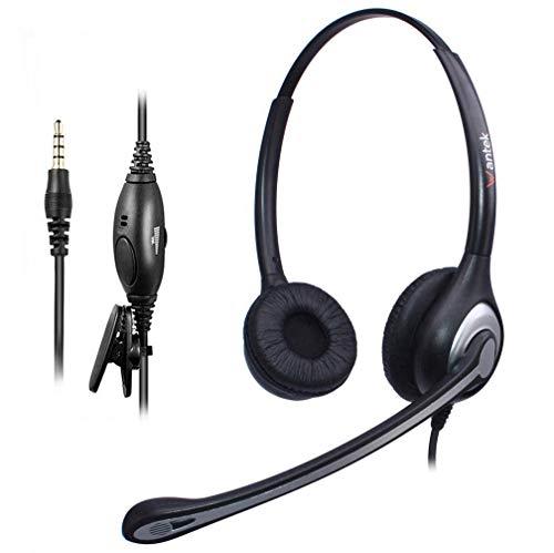 Wantek Kabelgebunden Headset Handy Binaural mit Noise Cancelling Mikrofon, Stereo Smartphone Kopfhörer 3,5mm Klinke Für iPhone Samsung Huawei HTC LG ZTE BlackBerry Android Mobiltelefon Laptop(F602M1)