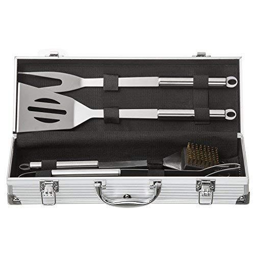415E60AX1pL - Goods & Gadgets Edelstahl Profi Grillbesteck-Set 5-teilig Grill-Koffer BBQ Besteck Zubehör fürs Grillen mit Grillbürste