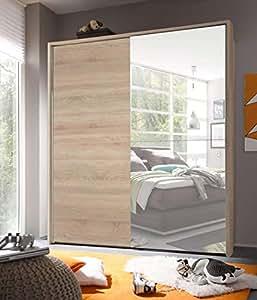 AVANTI TRENDSTORE - Victoria - Armadio con Ante scorrevoli e Specchio, in Legno Laminato, Molto spazioso, Disponibile in 2 Colori Diversi. Dimensioni: Lap 170x196x60 cm (Marrone Chiaro)