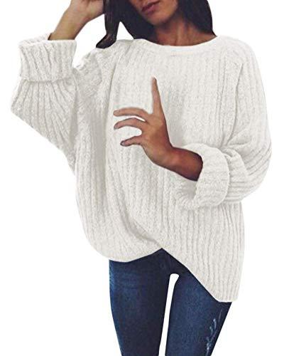 Tomwell Damen Rollkragenpullover Elegant Langarm Strickpullover Weich Rippstrick Pulli mit Stehkragen für Winter Weiß DE 38 (Damen Pullover Rollkragen Langarm)