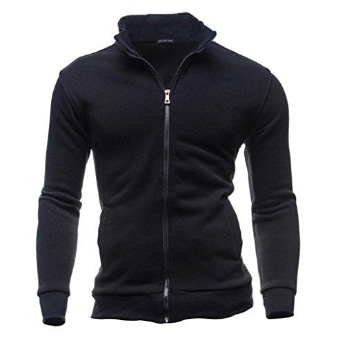LuckyGirls Herren Strickjacken Zipper Sweatshirts ohne Kapuze Tops Mäntel Herbst Winter Freizeit Sport (3XL, Schwarz) (Herren Neue Pullover Strickjacke)