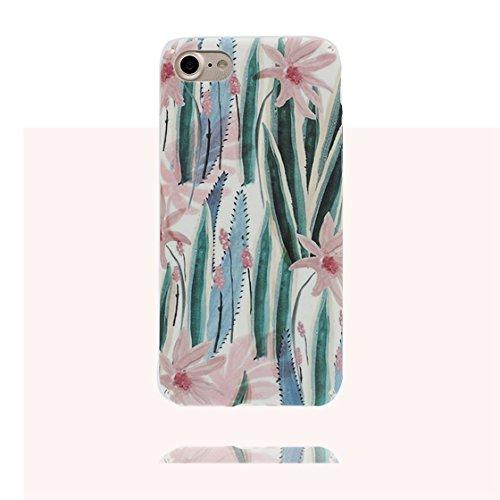 iPhone 7 Plus Custodia, morbida guarnizione TPU in gomma antigraffio protettiva Case iPhone 7 Plus copertura 5.5 Cover Sottile Peso leggero # Cartoon Fenicottero Pavone # Cartoon Foglia fiore