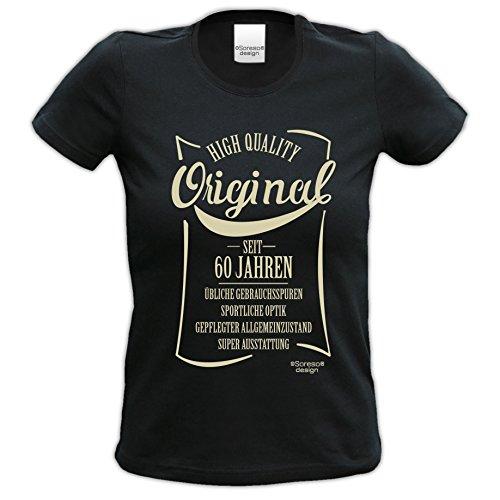 Damen-Oberteil-Sprüche-Fun- T-Shirt Girlie-Shirt Jubiläums Geschenk zum 60. Geburtstag Original seit 60 Jahren Generation Ü60 Farbe: schwarz weiss und rot schwarz-04