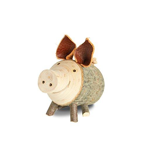 Astholzschwein Dekoration aus Naturholz ideal als Geschenkidee, Größe wählbar (Durchmesser: 4-5 cm sitzend)