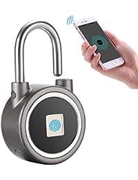 YDI Candado Inteligente con Huella Digital, Bluetooth Candado sin Llave Antirrobo Impermeable de Cerradura para Gimnasio, Puerta, Mochila, Maleta de Equipaje, Bicicleta, Oficina