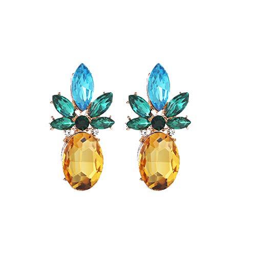 bobo4818 Ananas Ohrringe Halskette Damenschmuck Hawaii Vacation Beach Party Tägliche Geschenkbox (Perlen-halskette Sie Eine Fügen Gold)