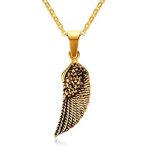 DADATU Halsketten für Herren Vintage Gold Tone Stainless Steel Men Es Guardian Angel Wing Pendant Choker Choker Wecklace Women Jewelry Collier with 24 Inch Chain