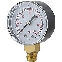 Zinniaya Práctico Piscina SPA Filtro Medidor de presión de Agua Mini 0-60 PSI 0-4 Bar Montaje Lateral Rosca de tubería de 1/4 Pulgada NPT TS-50