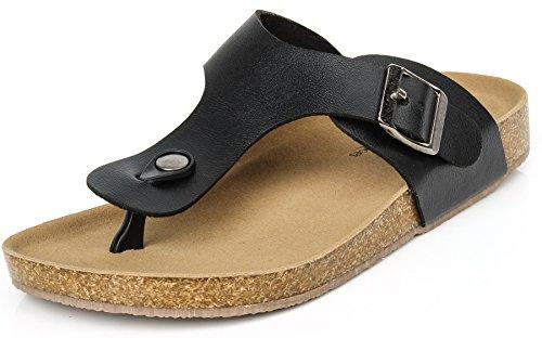 ageemi-shoes-mujere-plano-sandalias-punta-abierta-verano-zapatos-unisex-adultoeul03-negro-37
