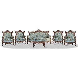 Casa Padrino baroque sofa set 3 seat sofa 4 armchairs and table with glass top - Antique Sofa Set