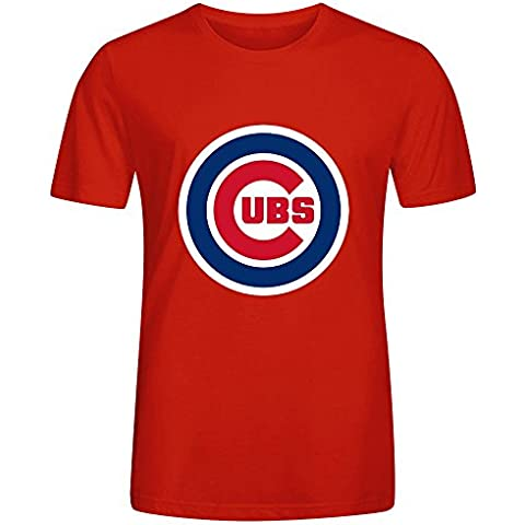 MLB Chicago Cubs Team Logo Crew Neck T Shirts For Men 100 Cotton XXXX-L
