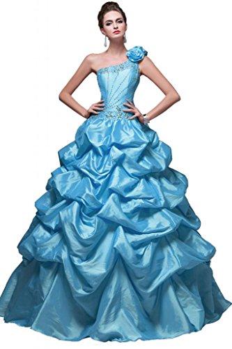 Sunvary Glamour Ein-Schulter Abendkleider Lang Satin Ballkleider Partykleider Blau