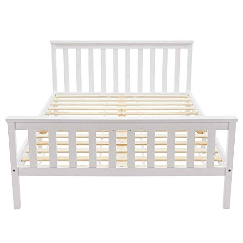 Double Bed Wooden Frame 4ft6 Double Wooden Bed in White For Adults, Kids, Teenagers(4FT6)