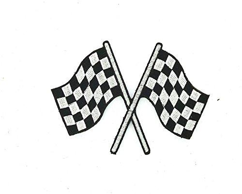Patch Ecusson-gesticktem zum Aufbügeln Flagge Damier Checkered, Rennen Auto Motorrad