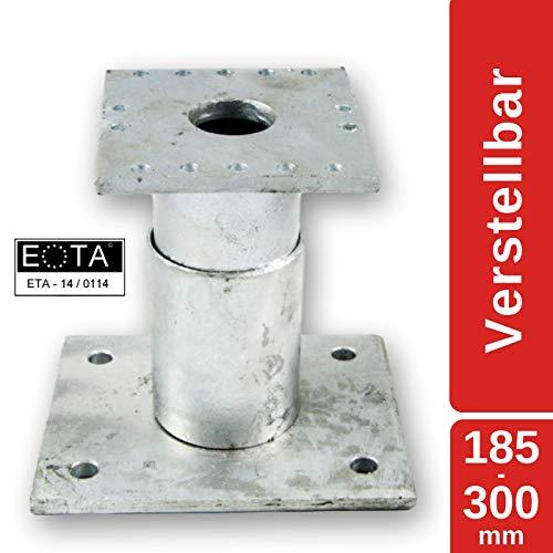 MERK Pfostenträger Stützenfuß höhenverstellbar (Höhe 185-300 mm), feuerverzinkt, mit Zulassung...