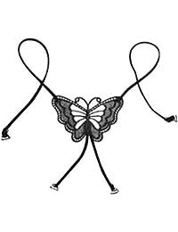 Tinksky Stretchy Lace Bra Straps Butterfly Flower Cross Back Lady Girl Invisible Lingerie Elastic Bra Straps Shoulder Straps for Women - cadeau pour amoureux (Noir)
