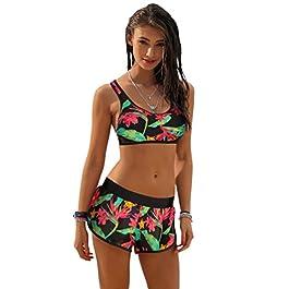 NiSeng Donna Due Pezzi Costumi da Bagno Stampa Fogliare Bikini Beachwear Elegante Costume da Bagn Bikini Spiaggia Estate