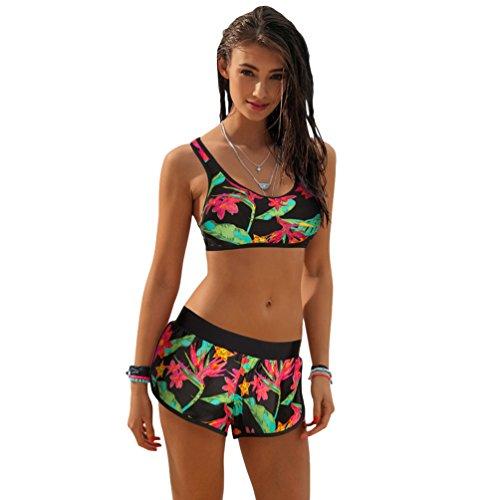 Niseng donna due pezzi costumi da bagno stampa fogliare bikini beachwear elegante costume da bagn bikini spiaggia estate 1 # l