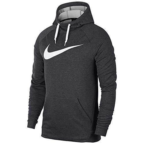 Nike Herren Hoodie Dry Training Swoosh, grau (Charcoal Heather/White), L, 885818-071 -