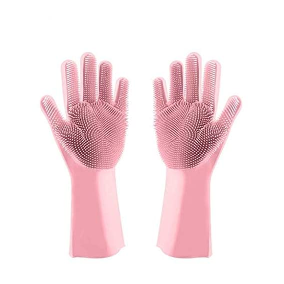 Spartan Silicone Dishwashing Gloves with Wash Scrubber, Cleaning Gloves Scrubbing Gloves for Dishes Heat Resistant and Reusable for Kitchen, Bathroom Cleaning (Pair of 1, Pink)