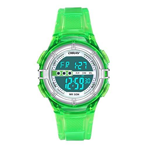 Digitale Armbanduhr, Jungen Digitaluhren Jungenuhr Sport Kinder Uhr Mädchen Jungenuhr Wasserdicht Sportuhren Digital Kinderhr (Jelly Grün)