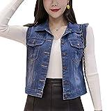 GladiolusA Donna Gilet In Jeans Con Bottoni Slim Fit Giubbotto Corte Giacca Senza Maniche#508 Blu L
