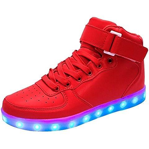 LED 7 Colori Cambi- Scarpe Basketball Bambini Bambina Unisex Collo