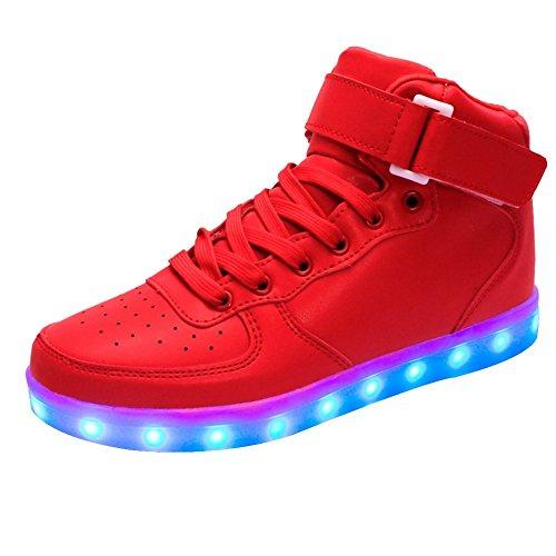 LED 7 Colori Cambi- Scarpe Basketball Bambini Bambina Unisex Collo Alto, Sneaker Presa USB Ricarica Sport Regali Originali Compleanno Natale Ragazza Ragazzi Scarpe Piatte