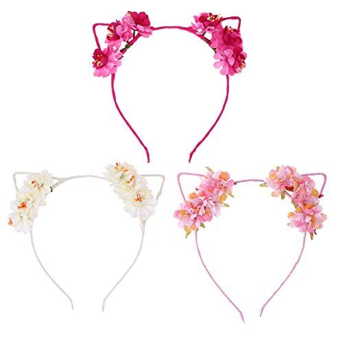 Frcolor 3 unids orejas de gato diademas dulce flor del pelo del aro del partido del traje Headwear