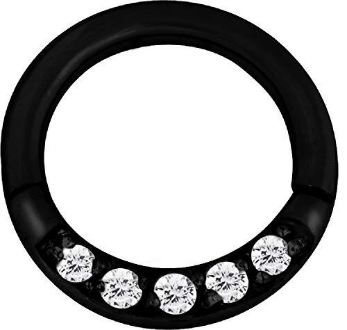 eeddoo® SEPTUM CLICKER RING aus schwarzem EDELSTAHL mit Kristallbogen