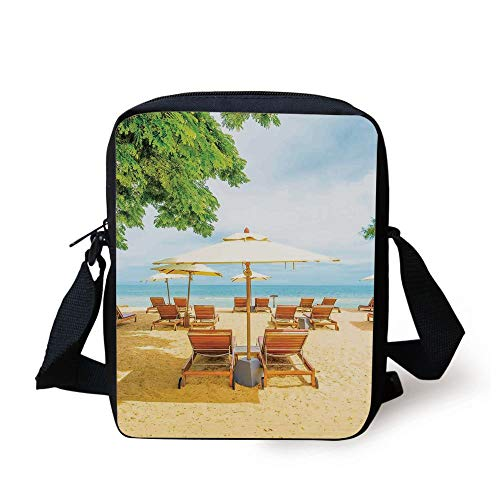 Seaside,Umbrella and Chairs on Tropical Beach Summer Vacation Destination Image,Orange Green and Blue Print Kids Crossbody Messenger Bag Purse -